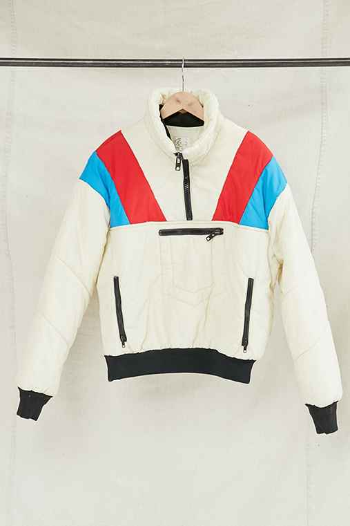 Vintage Cream Puffer Pullover Jacket,ASSORTED,ONE SIZE