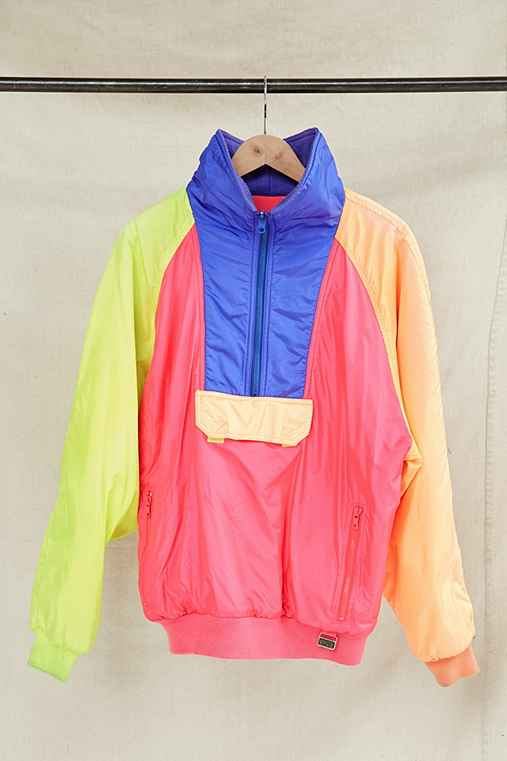 Vintage Neon Fleece-Lined Puffer Pullover Jacket,ASSORTED,ONE SIZE