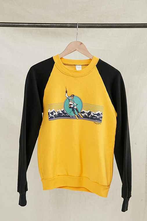 Vintage Yellow Ski Sweatshirt,ASSORTED,ONE SIZE