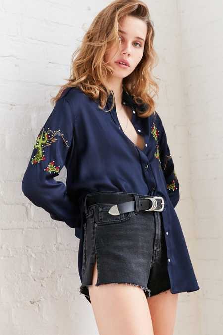 BDG Embroidered Cactus Button-Down Blouse