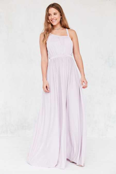 Silence + Noise Coralina Cupro Asymmetrical Maxi Dress