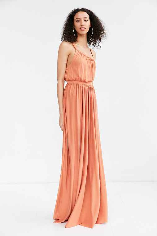 Silence + Noise Coralina Cupro Asymmetrical Maxi Dress,RUST,XS