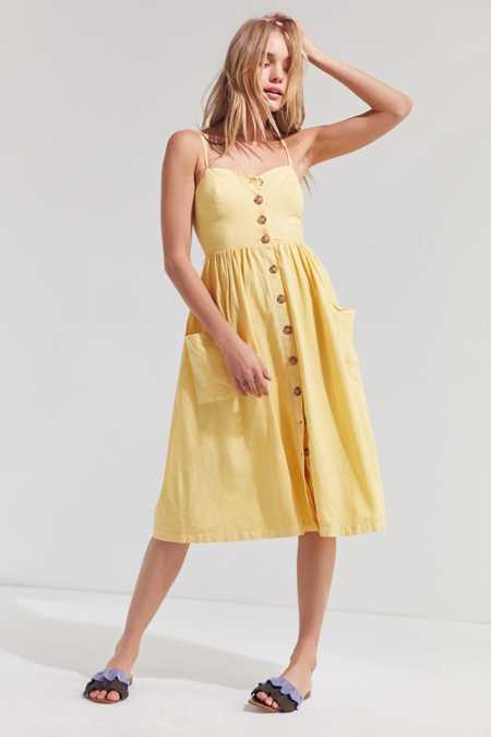 Cooperative Emilia Linen Button-Down Midi Dress