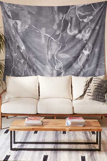 Emanuela Carratoni For DENY Grey Marble Tapestry