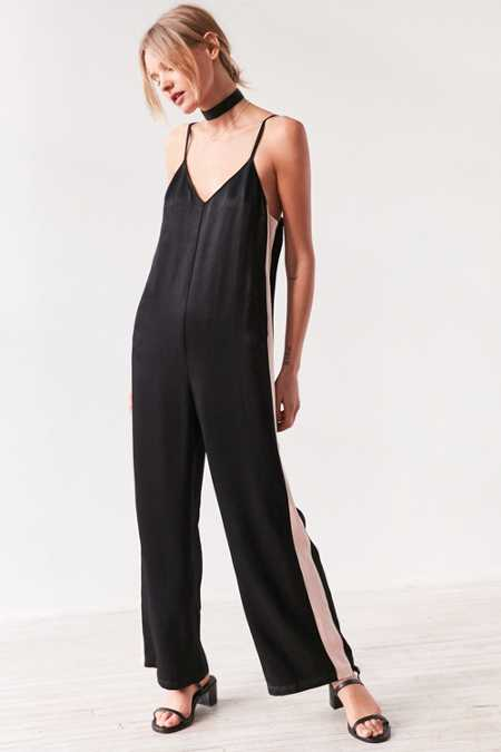Silence + Noise Side Stripe Satin Slip Jumpsuit
