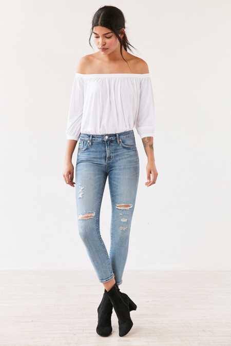 AGOLDE Sophie High-Rise Distressed Cropped Skinny Jean - Outsider
