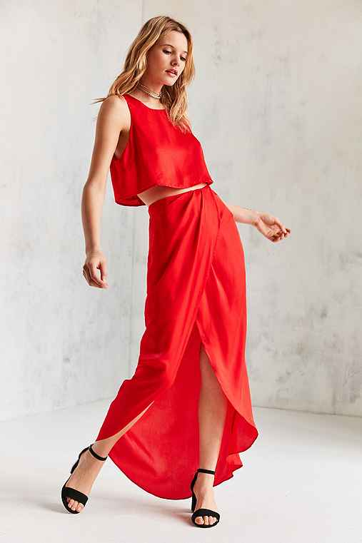Silence + Noise Satin Shine Two-Piece Set,RED,2