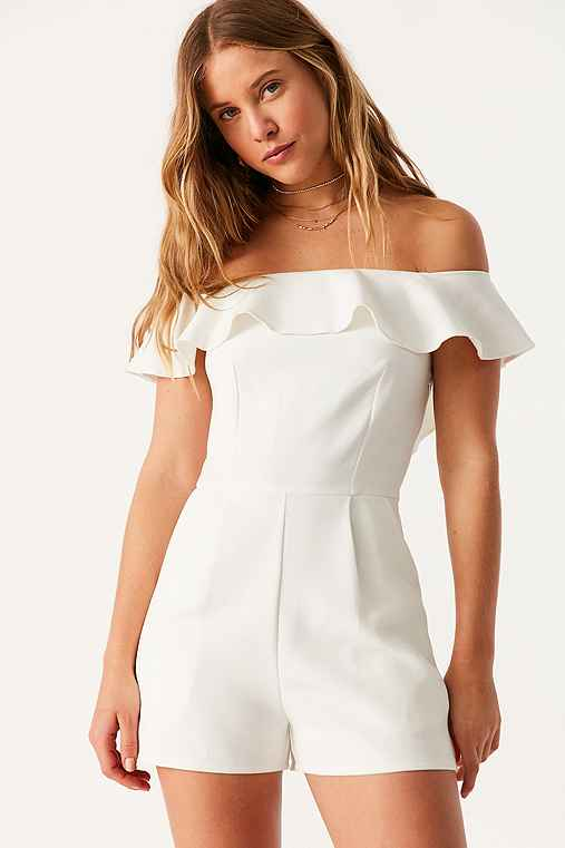 Oh My Love Waterlilly Off-The-Shoulder Ruffle Romper,WHITE,XS