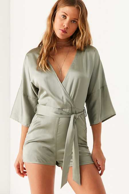 Six Crisp Days Satin Surplice Romper