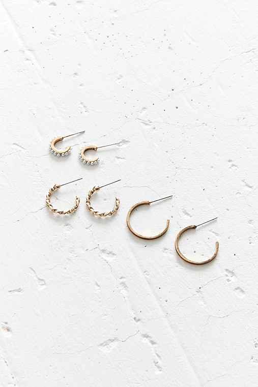 Aria Hoop Earring Set,WHITE,ONE SIZE