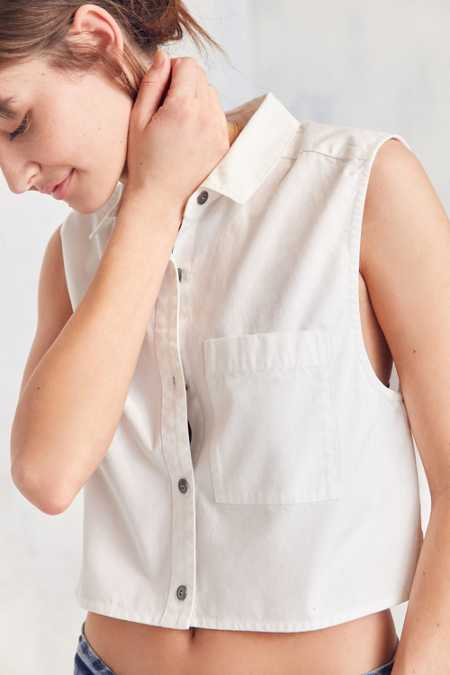 Silence + Noise Sleeveless Poplin Button-Down Blouse