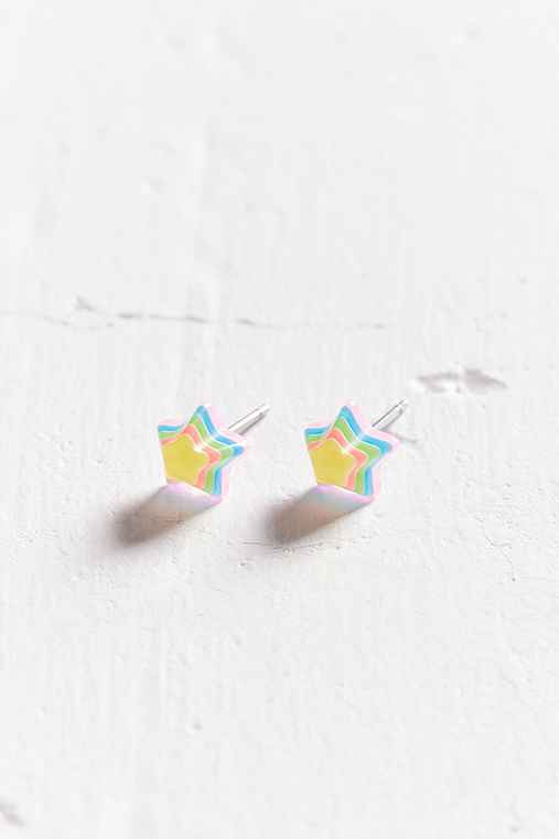 Neon Rainbow Star Post Earring,YELLOW,ONE SIZE