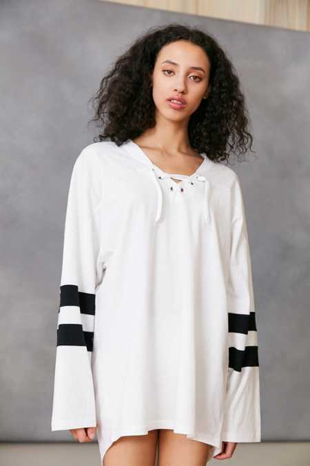 Silence + Noise Oversized Lace-Up Jersey Tee