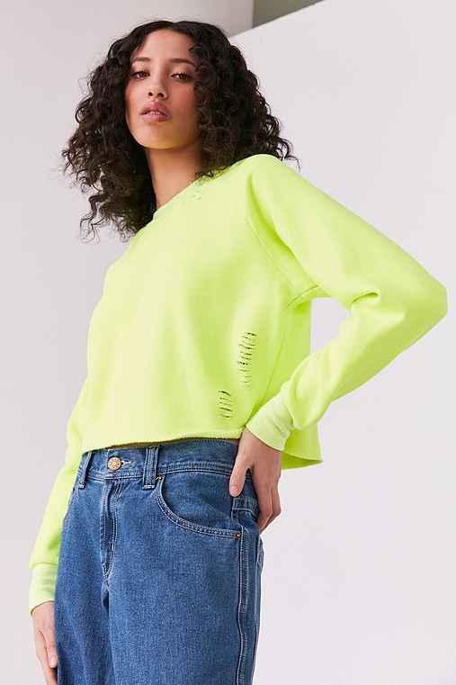BDG Brittany Distressed Sweatshirt,YELLOW,XS
