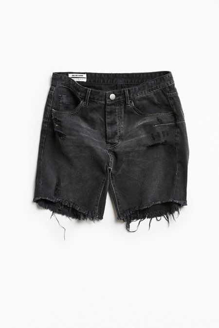 One Teaspoon Black Van Destructed Denim Short