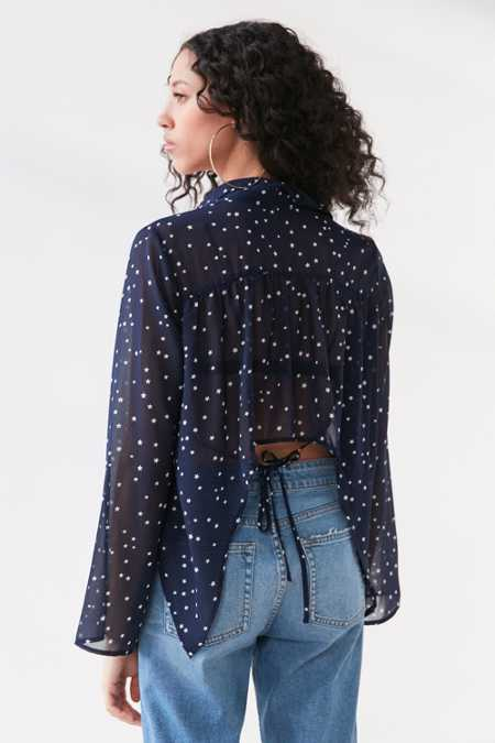 Lucca Couture Starry Night Tie-Back Blouse