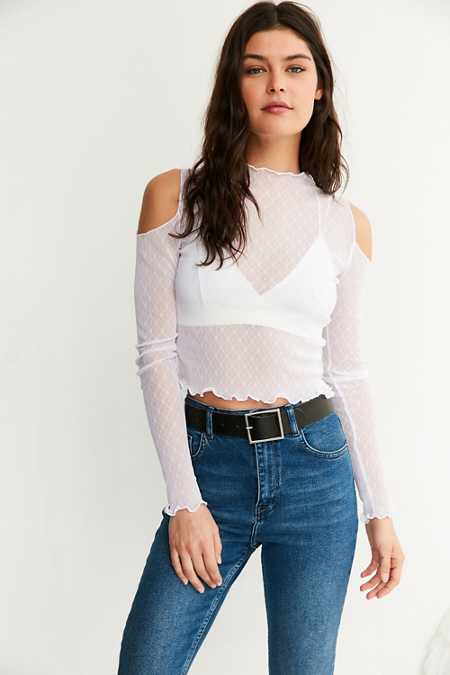 Out From Under Mesh Mock Neck Cold Shoulder Top