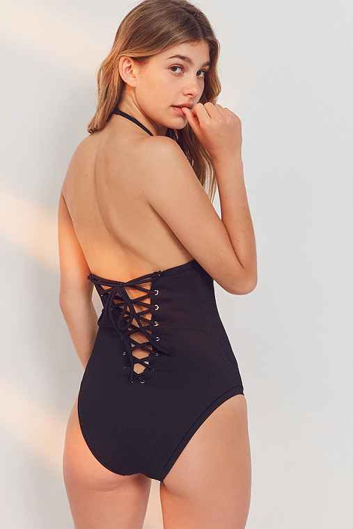 Out From Under Blake Lace-Up One-Piece Swimsuit,BLACK,S