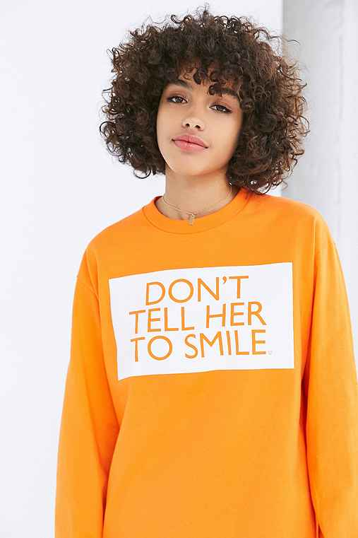 Silence + Noise Don't Tell Her To Smile Tee,ORANGE,M
