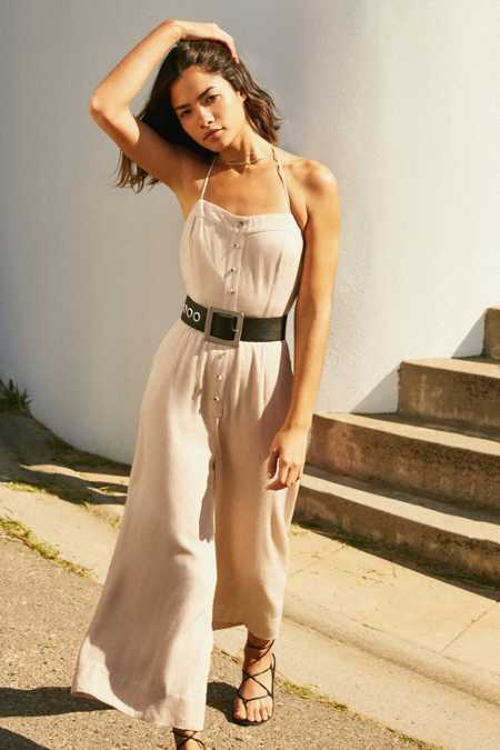 Silence + Noise Button-Front Halter Jumpsuit