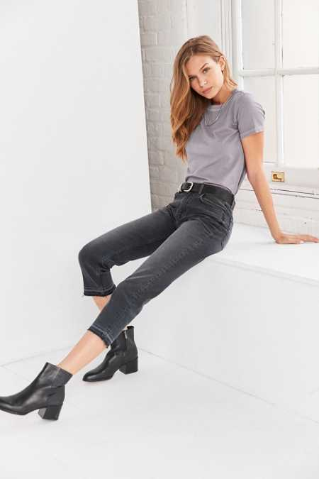 BDG Axyl Mid-Rise Straight-Leg Jean - Washed Black