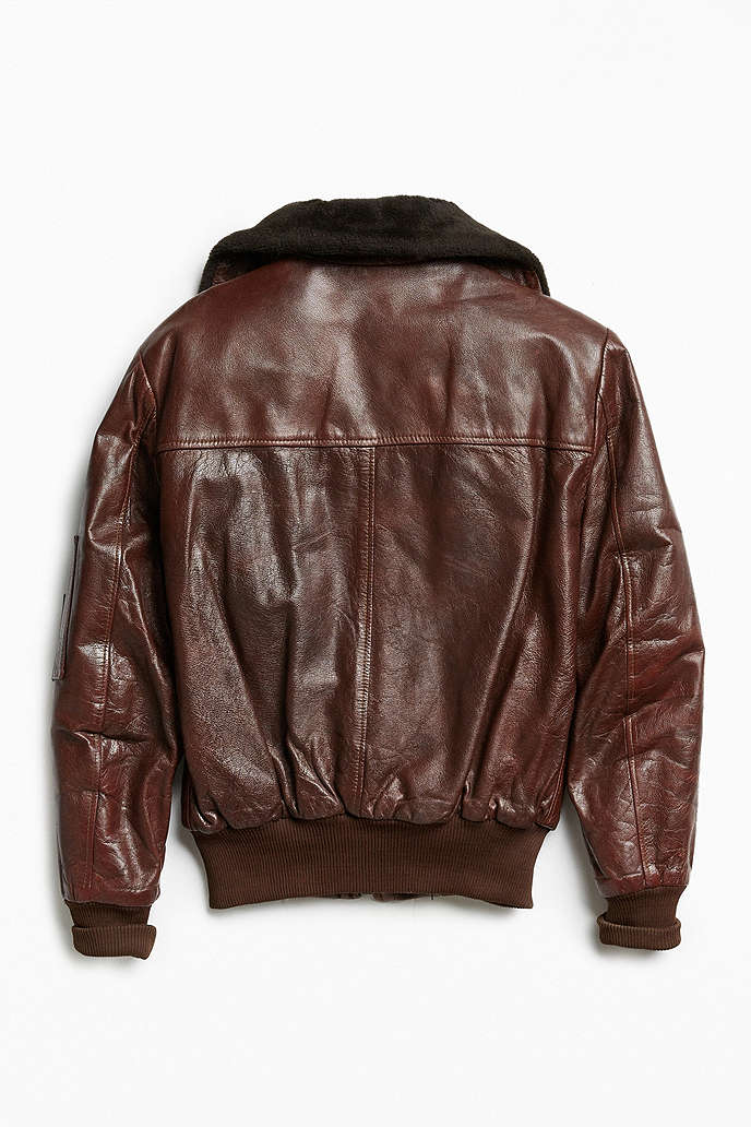 Vintage Leather Bomber Jacket - Urban Outfitters