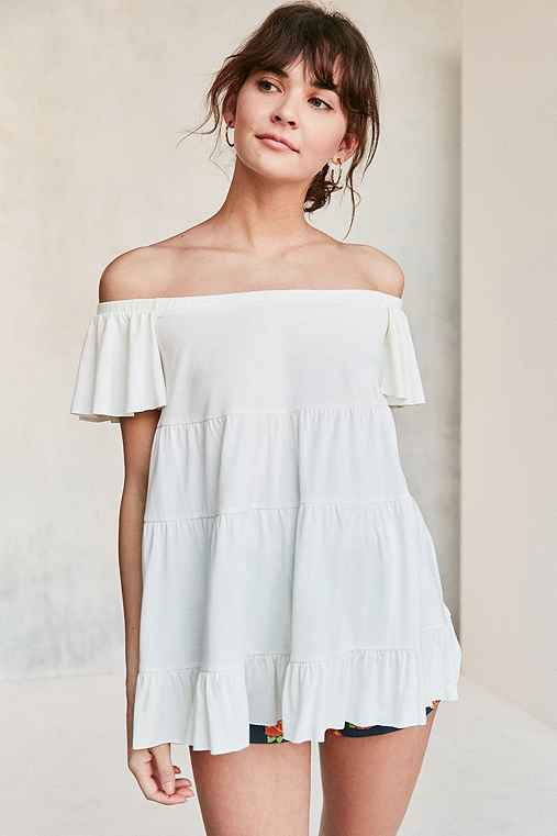 Kimchi Blue Eliza Ruffle Tiered Off-The-Shoulder Tee,WHITE,L