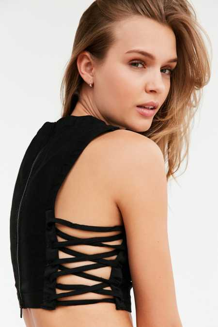 Silence + Noise Sally Lace-Up Side Cropped Top
