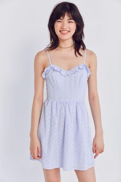 Kimchi Blue Ruffle Eyelet Fit + Flare Mini Dress