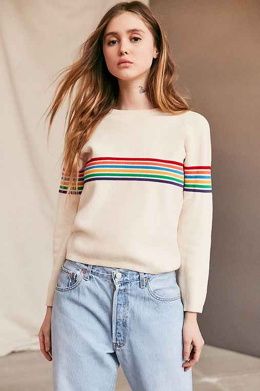 Vintage 70's Tan Rainbow Striped Sweater,ASSORTED,ONE SIZE