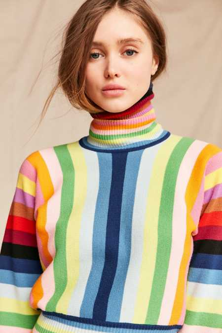 Vintage 70's Rainbow Turtleneck Sweater