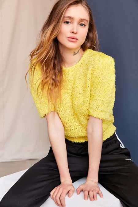 Vintage Yellow Textured Sweater