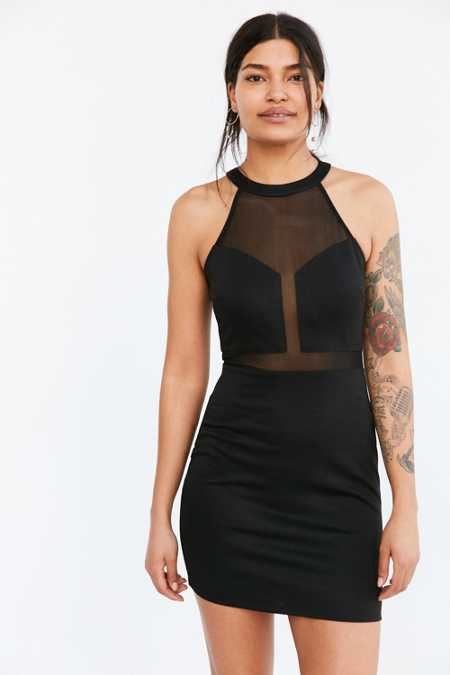 Silence + Noise Sweetheart Mesh Mini Dress