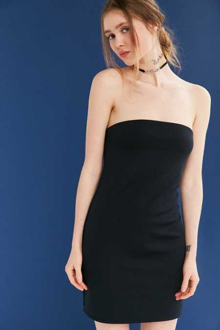 Silence + Noise Tubular Double Layer Ponte Strapless Dress