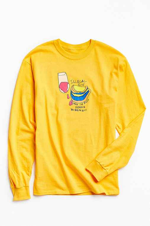 Illegal Civilization Learn The Rules Long Sleeve Tee,YELLOW,M