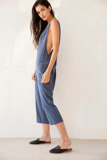 Silence + Noise Surplice Back Cropped Jumpsuit