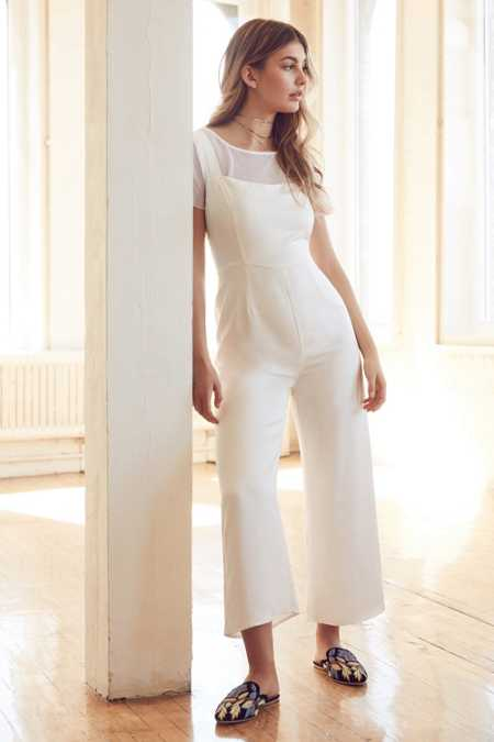 Silence + Noise Satin Straight-Neck Jumpsuit