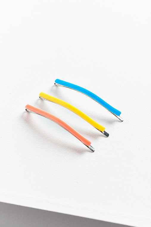 Electric Enamel Bobby Pin Set,YELLOW,ONE SIZE