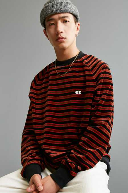 Lazy Oaf Striped Velour Sweatshirt