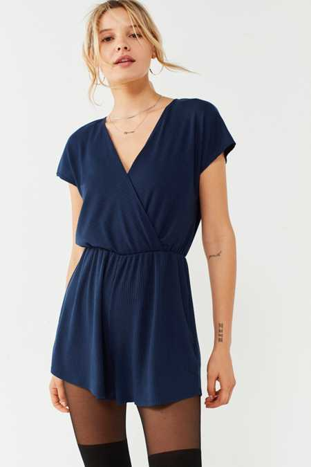 Ecote Ribbed Knit Surplice Romper