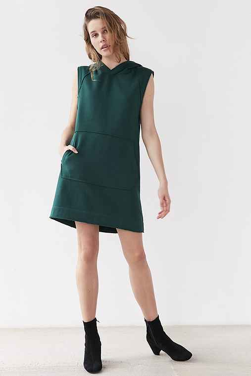 BDG Heather Muscle Hoodie Dress,DARK GREEN,M