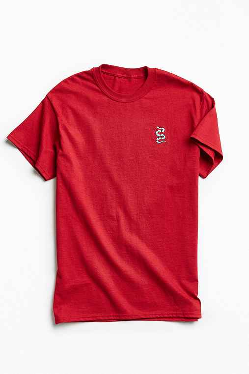 Altru Apparel Embroidered Snake Tee,RED,S