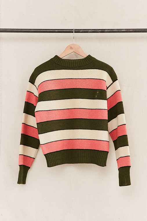 Vintage Pink/Green Striped Sweater,ASSORTED,ONE SIZE