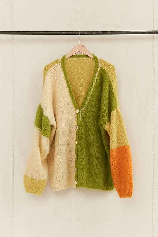Vintage Green Color Block Cardigan,ASSORTED,ONE SIZE