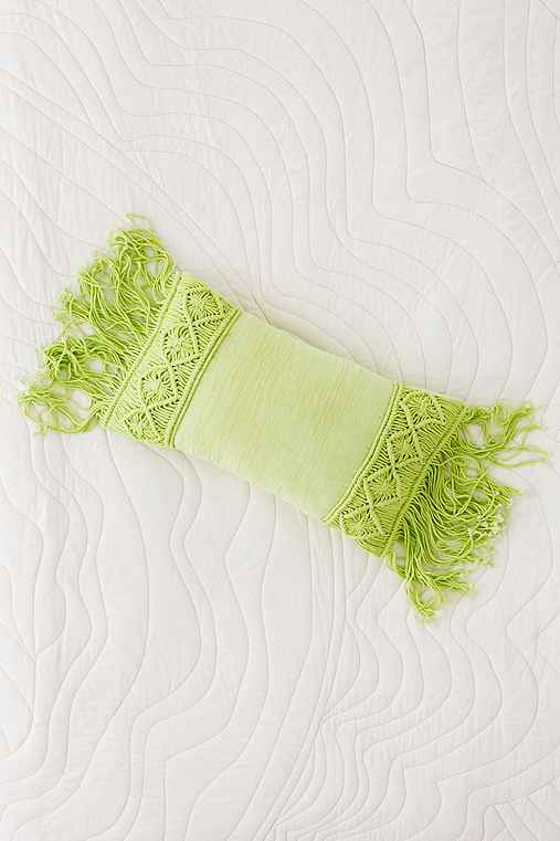 Aiko Crochet Fringe Bolster Pillow,LIME,14X24