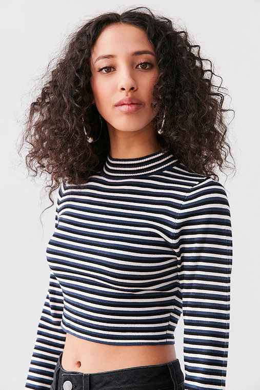 Silence + Noise Striped Cropped Turtleneck Sweater,BLUE MULTI,M
