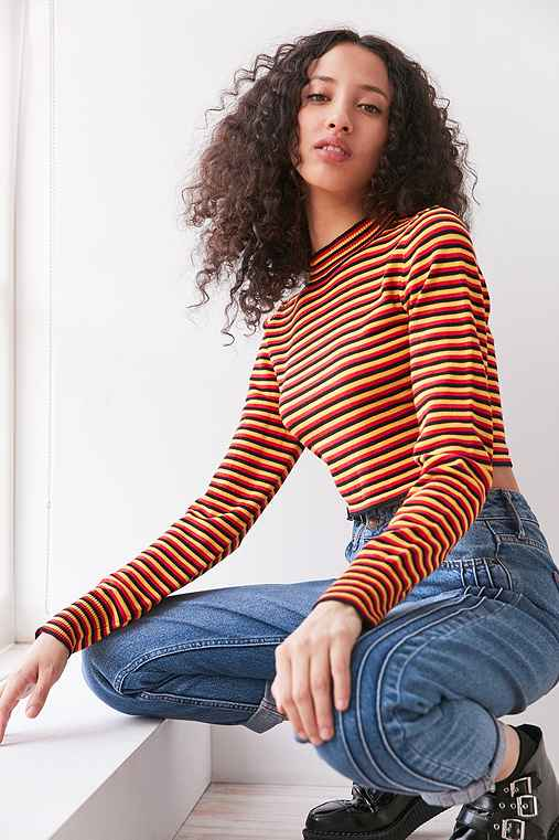 Silence + Noise Striped Cropped Turtleneck Sweater,YELLOW,XS
