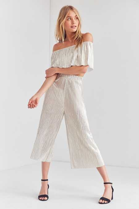 Oh My Love Metallic Accordion Pleat Off-The-Shoulder Set
