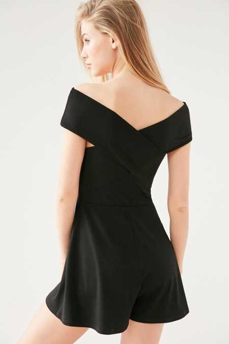 Silence + Noise Off-The-Shoulder Cross-Font Romper