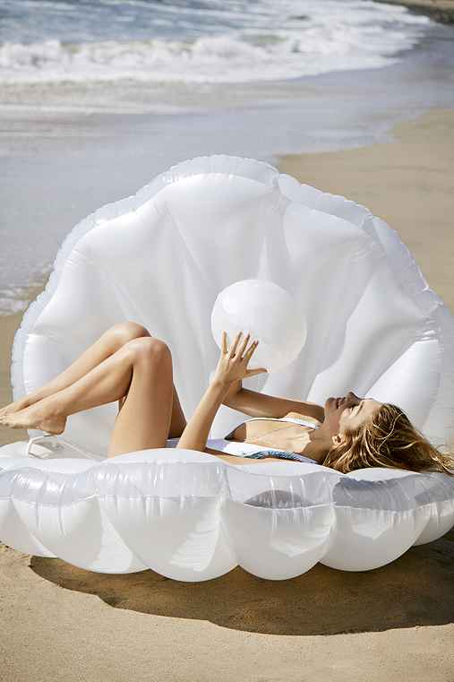 Mermaid Shell Pool Float,WHITE,ONE SIZE